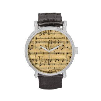Musical Score Old Parchment Paper Design Wristwatch