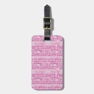 Musical Score Old Pink Paper Design Travel Bag Tag