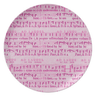 Musical Score Old Pink Paper Design Plate