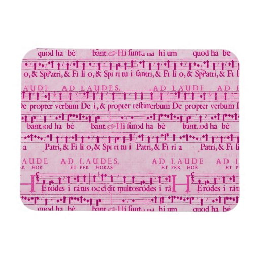 Musical Score Old Pink Paper Design Flexible Magnets