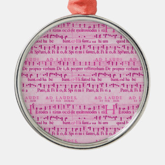 Musical Score Old Pink Paper Design Silver-Colored Round Decoration