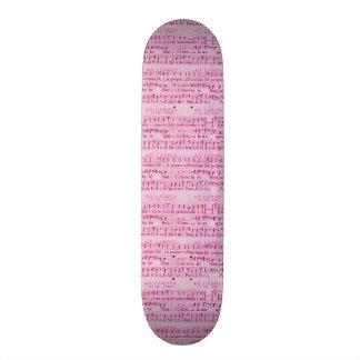 Musical Score Old Pink Paper Design Custom Skateboard