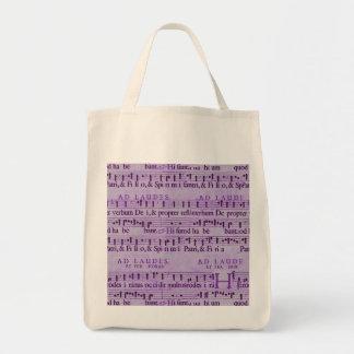 Musical Score Old Purple Paper Design Canvas Bags