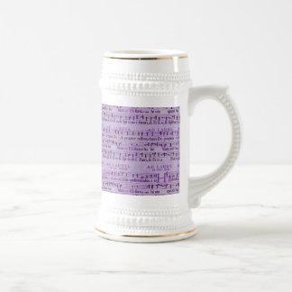 Musical Score Old Purple Paper Design Beer Steins