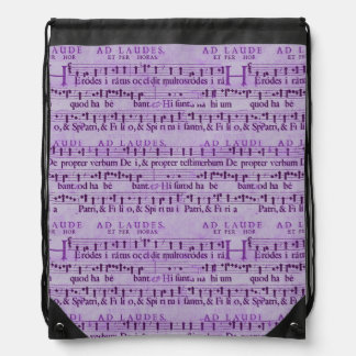 Musical Score Old Purple Paper Design Drawstring Backpacks