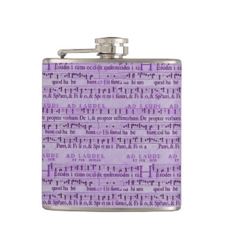 Musical Score Old Purple Paper Design Flask