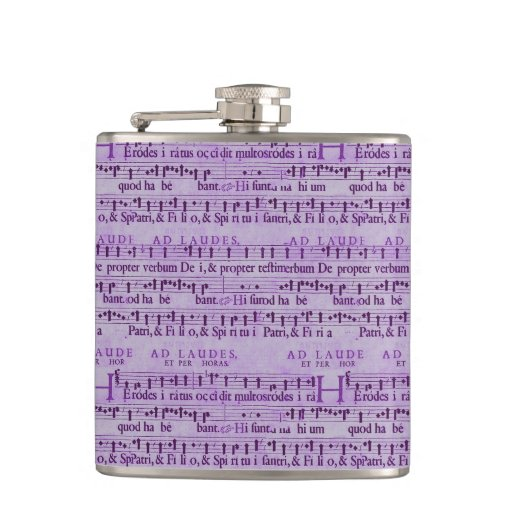 Musical Score Old Purple Paper Design Flask