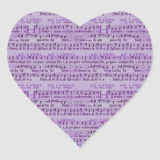 Musical Score Old Purple Paper Design Heart Sticker