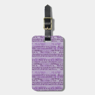 Musical Score Old Purple Paper Design Luggage Tag