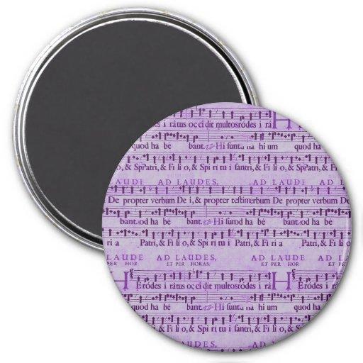 Musical Score Old Purple Paper Design Fridge Magnet