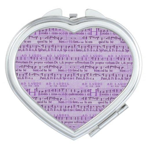 Musical Score Old Purple Paper Design Mirror For Makeup
