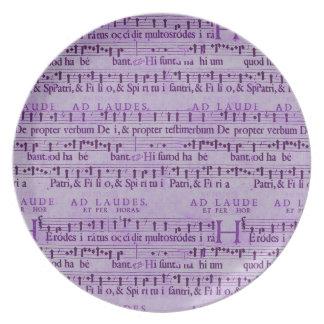 Musical Score Old Purple Paper Design Plates