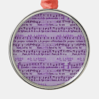 Musical Score Old Purple Paper Design Silver-Colored Round Decoration