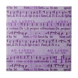 Musical Score Old Purple Paper Design Tiles
