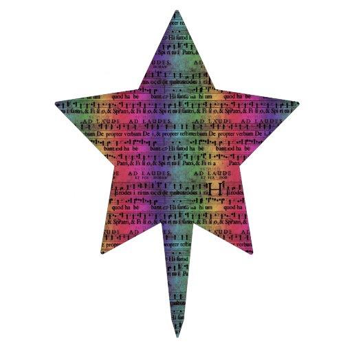 Musical Score Old Rainbow Paper Design Cake Topper
