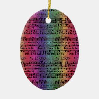 Musical Score Old Rainbow Paper Design Ceramic Oval Decoration