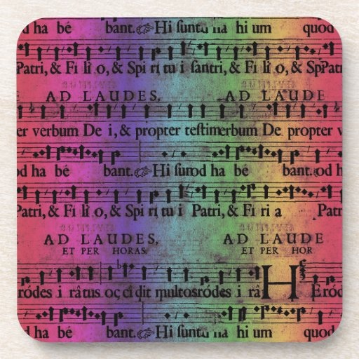 Musical Score Old Rainbow Paper Design Coaster