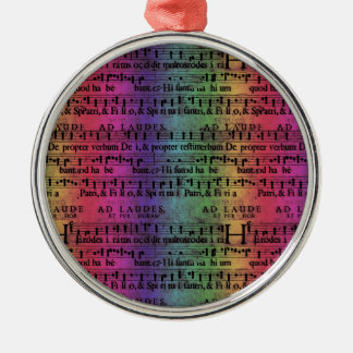 Musical Score Old Rainbow Paper Design Silver-Colored Round Decoration