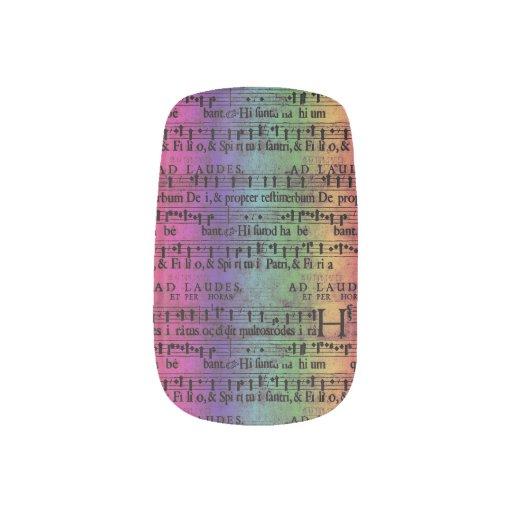 Musical Score Old Rainbow Paper Design Minx ® Nail Art