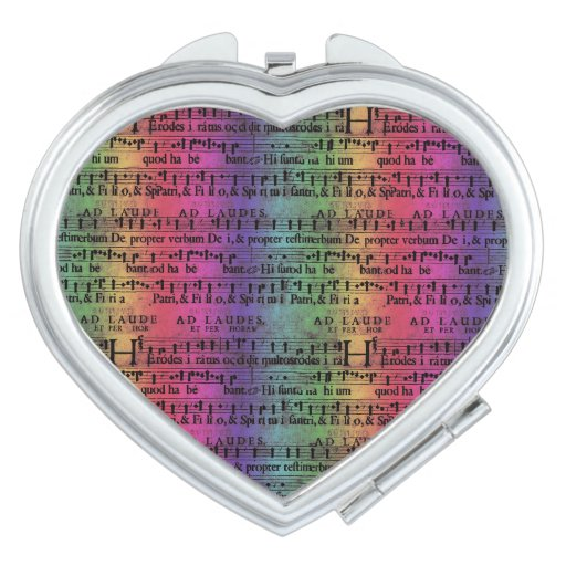 Musical Score Old Rainbow Paper Design Mirror For Makeup