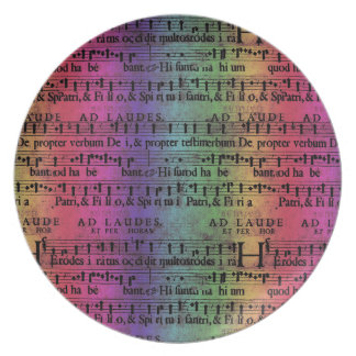 Musical Score Old Rainbow Paper Design Party Plates