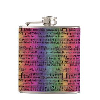 Musical Score Old Rainbow Paper Design Hip Flask