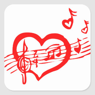 Musical Singing Red Heart Square Sticker
