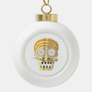 Musical Skull Bauble Ceramic Ball Christmas Ornament