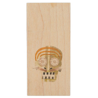 Musical Skull Wooden Pendrive Wood USB Flash Drive