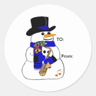 Musical Snowman Round Sticker