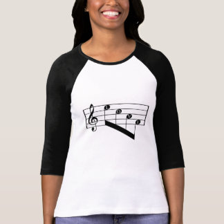 Musical Staff Treble Clef Love Notes Black Design T-Shirt