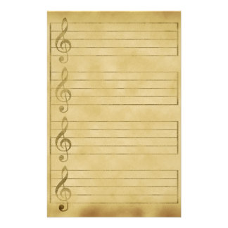 Musical Staff Treble Clef Parchment Design Lined Stationery Paper