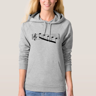 Musical Staff Treble Clef Peace Notes Black Design Hoodie