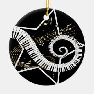 Musical Star golden notes Christmas Ornament
