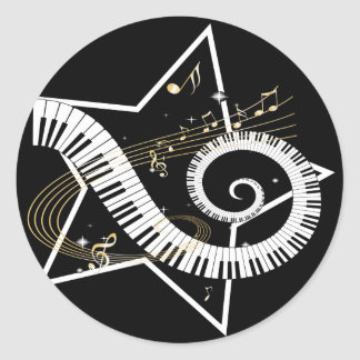 Musical Star golden notes Classic Round Sticker