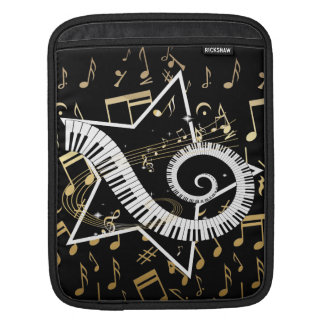 Musical Star golden notes iPad Sleeves