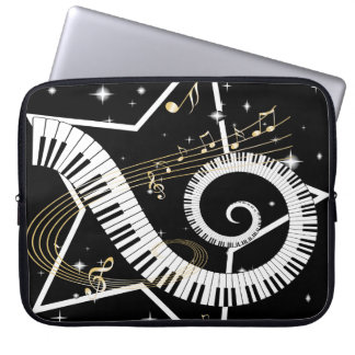 Musical Star Golden Notes Laptop Computer Sleeves