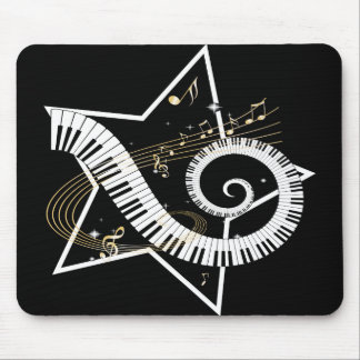Musical Star golden notes Mouse Pad