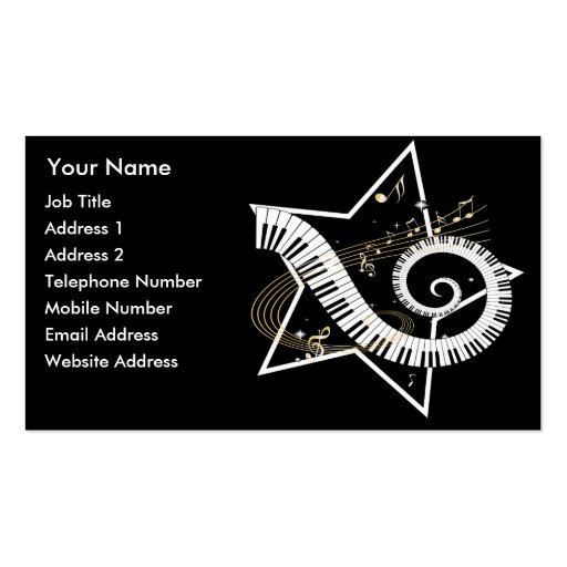 Musical Star golden notes Music Business cards