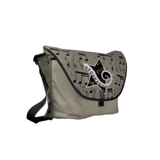Musical Star golden notes on flannel color backgro Commuter Bag
