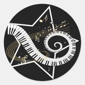 Musical Star golden notes Round Sticker