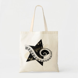 Musical Star Golden Notes Tote Bag