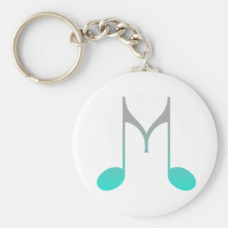"Musical Symbol ""M"" Basic Round Button Key Ring"