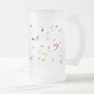 Musical Symbols in Rainbow Colors Frosted Glass Mug