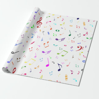Musical Symbols in Rainbow Colors Wrapping Paper