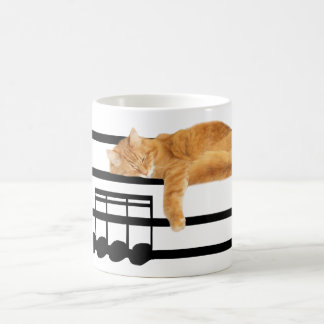 Musical tabby kitty cat coffee mug