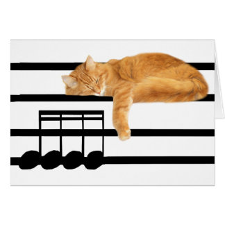 Musical tabby kitty cat greeting cards