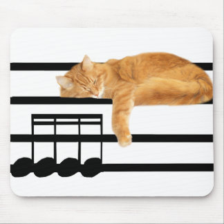 Musical tabby kitty cat mouse mat