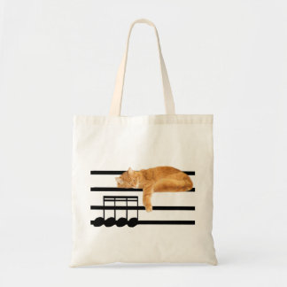 Musical tabby kitty cat tote bag