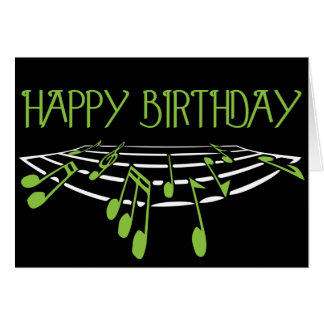 Musical Themed Birthday Card - Green